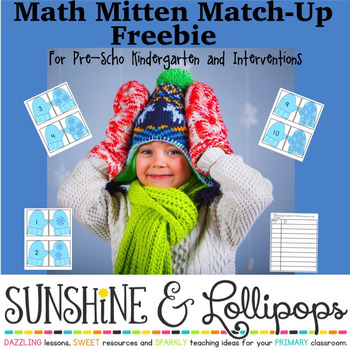 Free Winter Math Activities Number Sense Mitten Match Up for Pre-K-K
