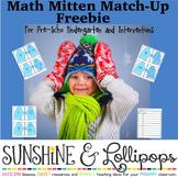 Free Winter Math Number Sense Mitten Match Up for Pre-K-K