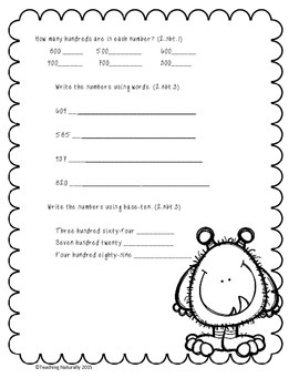 Place Value Printables and Task Cards (2nd &3rd grade)