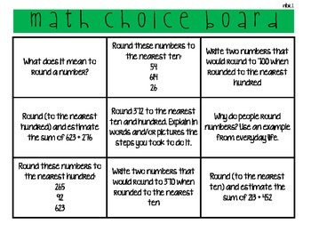 math choice boards 3.nbt.1 & 3.nbt.2