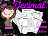 math decimal worksheet rules exercises and solutions.