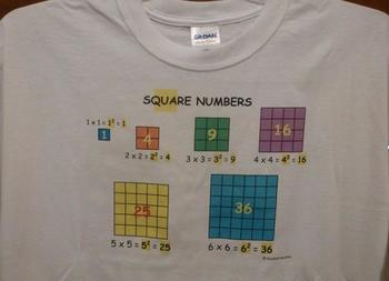 math t-shirt - square numbers and square roots - size LARGE
