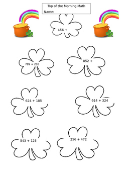 math worksheets Shamrock themed