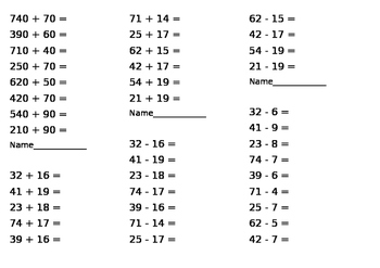 maths problems (addition, subtraction, multiplying)