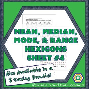 mean, Median, Mode, and Range Hexagon Partner Activity #4 | Data Worksheet