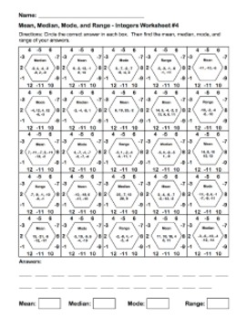 mean, Median, Mode, and Range Integer Hexagons Worksheet 4 - Partner Activity