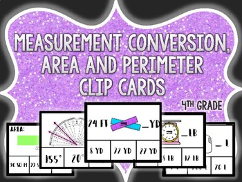 measurement conversion, angles, area, and perimeter clip cards