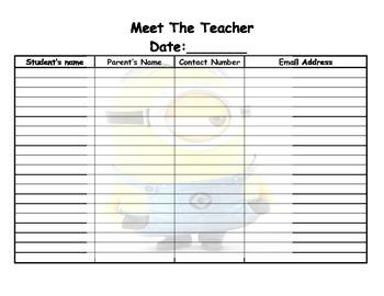 meet the teacher minion sign in sheet
