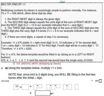 Grades 1-10: MENTAL MATH & DRILLS in Common Core grade-domain order: 18 pgs