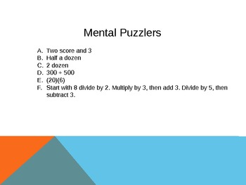 mental math puzzels 1