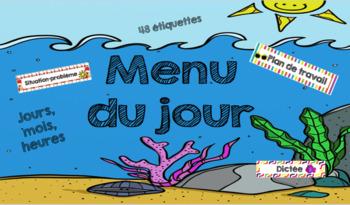 menu du jour: thème de l'été et la plage
