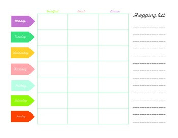 menu planner and shoping list