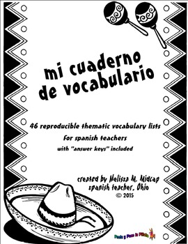 """mi cuaderno de vocabulario""  Spanish Vocabulary Binder"