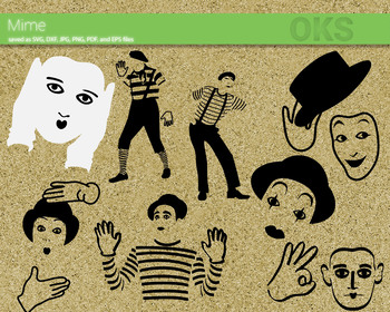 mime SVG cut files, DXF, vector EPS cutting file instant download for cricut