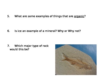 minerals and rocks review - differentiated question set