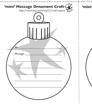 mini Message Ornament Craft PDF Template
