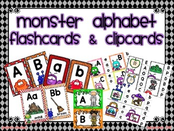 mini bundle_monster theme alphabet flashcards and clipcards