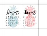 mini-calendar pineapple theme