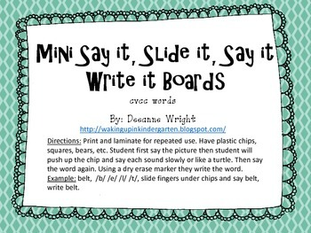 mini say it, slide it, say it, write it boards-cvcc