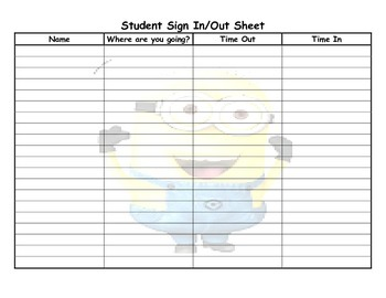 minion student sign in and out sheet