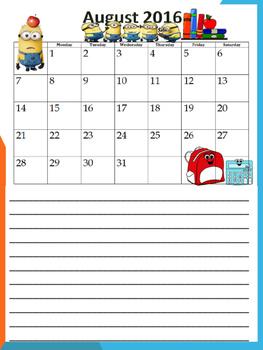minion themed  calendar