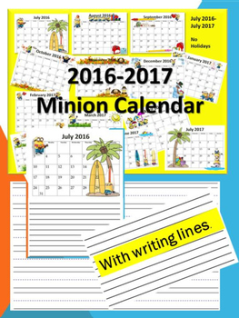 minion themed  calendar