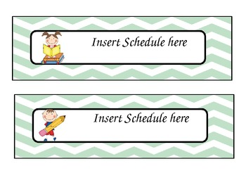 mint chevron themed editable daily schedule cards