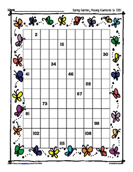 missing numeral charts to 120 bundle: spring garden theme
