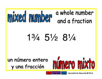 mixed number/numero mixto meas 1-way blue/rojo