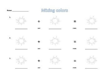 mixing colors worksheet and delivery sequence 2-6 yrs