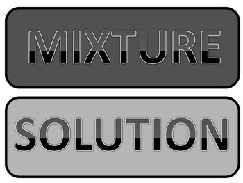 mixtures and solutions sort