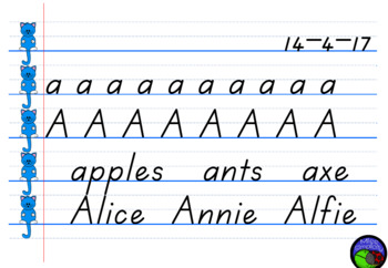 modelled handwriting IWB lined pages template in TASMANIAN beginners FONT
