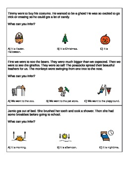 Differentiated conclusions & inferences worksheet; Boardmaker
