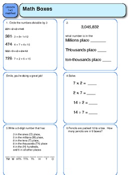 modified fifth grade everyday math worksheet lesson 1.5