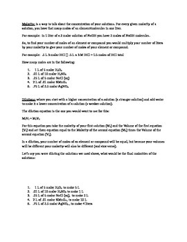 molarity worksheet by Ms Midgleys science store | TpT