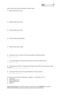 mole calculation quiz