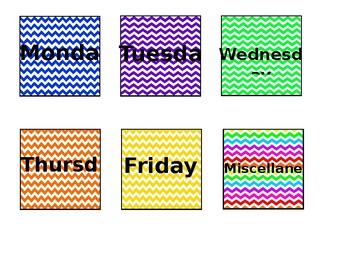 monday-friday square chevron labels