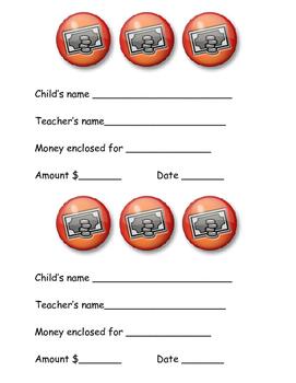 money sent to school note
