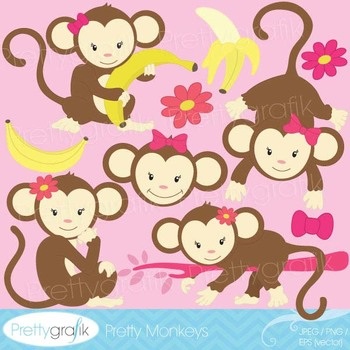monkey clipart commercial use, vector graphics, digital cl