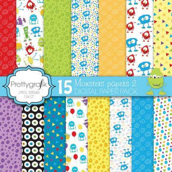 monster digital paper commercial use scrapbook papers background