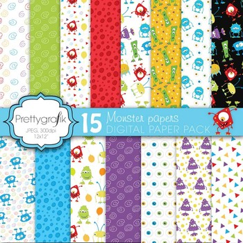 monster digital paper, commercial use, scrapbook papers, b