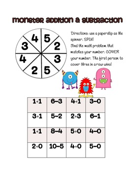 monster math game for kindergarten