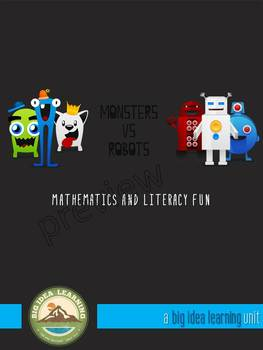 monsters vs robots, maths and literacy fun