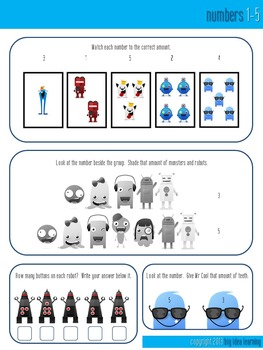monsters vs robots, maths and literacy fun freebie