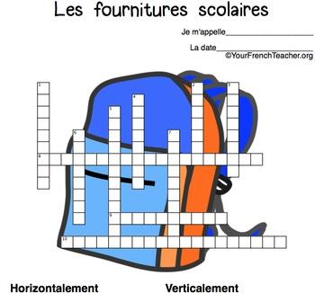 mots croisés: fournitures scolaires (French school supplies 3 crossword puzzles)