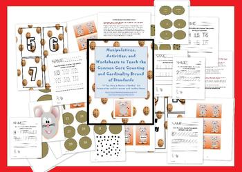 mouse and cookie themed Common Core kindergarten math activity set