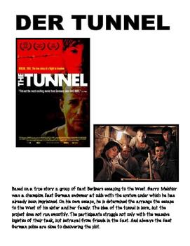 movie worksheet over the German movie THE TUNNEL (der Tunnel)