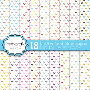 multi colored heart digital paper, commercial use, scrapbo