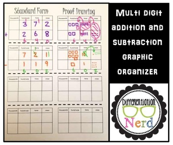 multi digit addition and subtraction graphic organizer