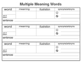 multiple meaning words graphic organizer